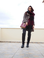 Ariana - Attrativo Fur Coat, High Boots, Tally Weilj Scarf - Taupe and Burgundy