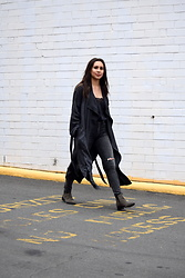 Melissa De Leon - Anthropologie Black Lace Camisole, Anthropologie Gray Trench Coat, Citizens Of Humanity High Rise Distressed Gray Denim, Marc Fisher Gray Bootie - Shades of Gray