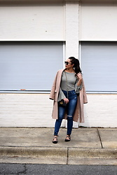 Melissa De Leon - Anthropologie Stripe T Shirt, Adriano Goldschmied High Rise Skinny Jeans, Ann Taylor Nude Coat, Vince Camuto Lace Up Black Flats, Kendra Scott Gold Choker, Gucci Mini Black Crossbody - French Girl