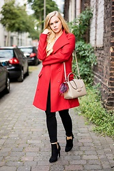 Sunnyinga - Desigual Coat, Bag, Skinny Jeans, Ankle Boots - Red Coat from Desigual
