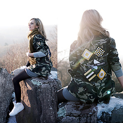 Adriana M. - Arrow And Beast Military Style Jacket, Nike White Sneakers, Only Green Scarf - Keep it neutral.