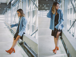 May B. - Imagine By Kim Denim Blouse, Chicwish Skirt, Mango Heels - BELL SLEEVES | ohmaygod.com