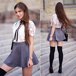 Ariadna Majewska - Chicwish White Crochet Blouse, Ax Paris Grey Flared Mini Skirt, Embis Black Leather Platform Heels, Dedicante.Pl Engraved Gold Necklace, Paul Hewitt Gold Wrist Watch - White - grey - black