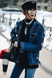 Andreea Birsan - Military Cap, Mirrored Sunglasses, Neck Scarf, Navy Turtleneck Sweater, Denim Jacket, Pinstripe Blazer, Black Tote Bag, Fur Charm, Two Tone Step Hem Mom Jeans - The secret trick to pulling off the denim on denim trend III