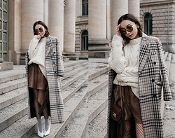 Bea G - Coat, Sweater, Shorts, Shoes, Bag - Berlin Fashion Week: Checked Coat & Cable Knit
