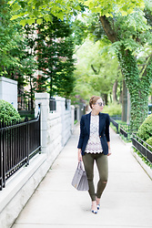 Ashley Hutchinson - Forever 21 Lace Top, Smythe Navy Duchess Blazer, Saint Laurent Gray Tote, Ann Taylor Gingham Pumps, Zara Green Skinny Jeans - Summer Lace & Gingham