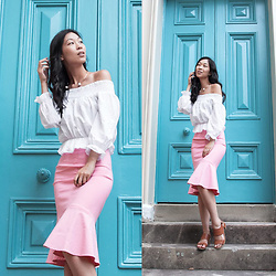 Cissy Zhang - Forcast Pink Fluted Skirt, White Off The Shoulder Top - Behind the blue door