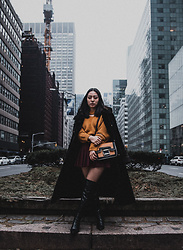 Yonish - Choker Sweater, Colorblock Bag, American Apparel Pleated Tennis Skirt, Black Thigh High Boots - Black fur in East Side