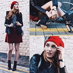 Fashion Artista - Daniel Wellington Watch, Superdry Faux Fur Vest, L'intervalle Boots, Superdry Skirt - The beauty is in detail