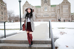 Louise Huang -  - Burgundy Outfit in Early Spring