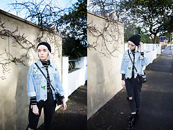 Peaches - Honey + Chai Frayed Denim Jacket, New Look Ripped Mom Jeans - Frayed Denim Jacket