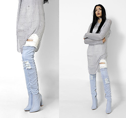 Yatri P - Prettylittlething Top, Missguided Jeans, Simmi Boots - RIPPED METALS