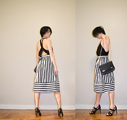 Gi Shieh - Urban Outfitters Open Back Tank, Topshop B+W Striped Skirt, Topshop Black Purse/Clutch, H&M Strappy Heels - Monochromatic