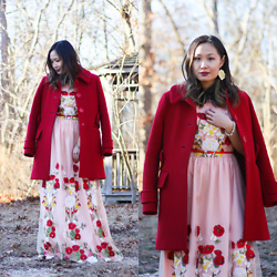 Mary G - Maje Red Wool Coat, Dezzal Pink Maxi Floral Dress, Vintage Heart Earring - The Most Romantic Dress for Valentine's Day