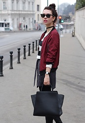 Jelena - Zac Posen Leather Bag, Ray Ban Wayfarer Sunglasses, Dresslily Bomber Jacket, Zaful Gray Skirt - Maroon bomber