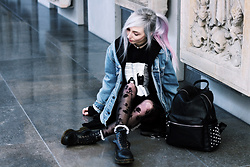 Kimi Peri - Underground Crystal Castles Sweater, Tk Maxx Rose Print Tights, Killstar Aurora Frilly Socks, Dr. Martens Vegan Boots, Levi's® Vintage Denim Jacket, Kry Clothing Studded Backpack, H&M Hooded Assassine Cardigan - Crystal Castles