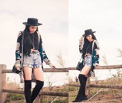 Chelsea Den - Blush Cardigan, American Apparel Shorts, Boater Hat, Over The Knee Boots - Wild, Wild West