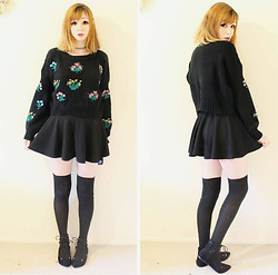 Rachel-Marie - Unbranded Tattoo Choker, Romwe Black Drop Shoulder Lantern Sleeve Flower Embroidery Sweater, Romwe Black Mini Skirt, Unbranded Black Thigh High Socks, Find Similar Here Black Lace Up Flats - Darkest Spring