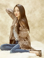 Kimberly Kong - Gentle Fawn Fringe Cardigan, Stitch Fix Skinny Jeans, Chaser Striped Tank - Cozying Up This Winter