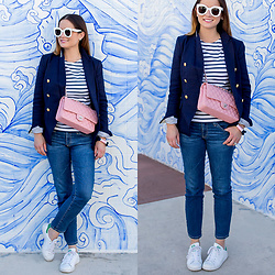 Jenn Lake - Chanel Pink Quilted Flap Bag, Banana Republic Navy Nautical Blazer, Adriano Goldschmied The Stilt Crop Jean, Saint James Navy Stripe Tee, Adidas Stan Smith Sneakers, Celine White Marta Sunglasses, The Ropes Maine Rope Bracelet - Chanel Pink Quilted Flap Bag