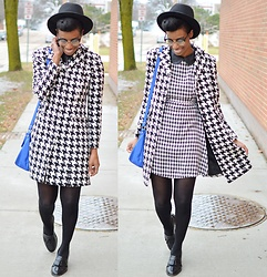 Sushanna M. - Thrifted Vintage Houndstooth Coat, Leather Collar Houndstooth Dress, Studded Blue Bag, Thrifted Vintage Men's Wingtip Tassel Loafers - Dazzler