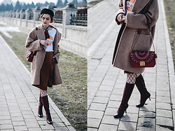Andreea Birsan - Newsboy Cap, Camel Coat, Wrap Skirt, Burgundy Knee High Boots, Fishnet Tights, Red Shoulder Bag, Graphic Tee, Silky Scarf - How to wear a wrap skirt during winter II