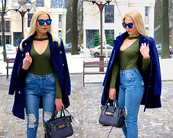 Kate F - Chicme Bodysuit Army Green, Vipme Leather Bag, Zaful Sunglasses, Romwe Jeans, Oasap Coat - Army Green