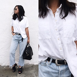 Tiffany Wang - Madewell Shirt, Levi's® Jeans, Zara Mules, Givenchy Bag, Asos Belt - FRAYED JEANS