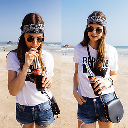 Jacky - Asos Bandana, Ray Ban Sunglasses, Levi's® T Shirt, Levi's® Shorts, Rebecca Minkoff Bag - One Coke, Please!
