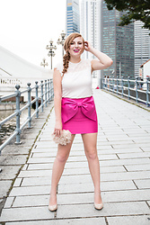 Brianna Degaston - H&M White Lace Top, Asos Hot Pink Bow Skirt, Payless Nude Pumps, Justfab Blush Clutch - Valentine's Day Date Night