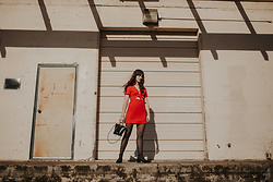 Tonya S. - Urban Outfitters Bow Red Dress - Contrast