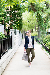 Ashley Hutchinson - Forever 21 Lace Top, Smythe Navy Blazer, Saint Laurent Gray Tote Bag, Zara Green Skinny Jeans, Forever 21 Marble Sunglasses, Ann Taylor Gingham Pumps - Saint Laurent Sac de Jour