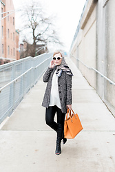 Ashley Hutchinson - Alexander Mcqueen Stained Glass Scarf, H&M White Tunic, Forever 21 Herringbone Wool Coat, Victoria Beckham Orange Tote Bag, Blank Nyc Leather Leggings, Joie Black Croc Open Toe Booties, Céline White Sunglasses - The Modern Babushka