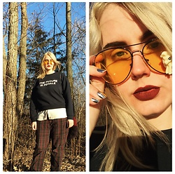 Elise Hanson - Otherwild Sweatshirt, Modcloth Blouse, Macy's Charter Pants, Mony Pony Sunnies, Empress Tips Nails - THE FUTURE IS FEMALE