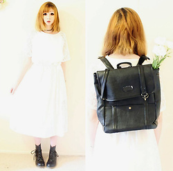 Rachel-Marie - Unbranded Tattoo Choker, Romwe White Lace Slim Dress With Belt, Unbranded Black Lace Up Martin Boots, Romwe Black Buckle Pu Backpack - Flower Child