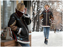 Anastasiia Masiutkina - Burberry Leather Jacket, Gucci Backpack, Bershka Denim, Valentino Boots - My favorite leather jacket!