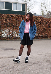 RuiJun L - Aliexpress Denim Jacket, Cndirect Black Skirt, Aliexpress Sneaker Platform - F E E L I N G S