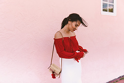 Alexandra Lord - Forever 21 Off The Shoulder Top, Revolve Nannacay Cross Body, Rachel Roy Fishtail Pencil Skirt - SWEET VALENTINE'S DAY