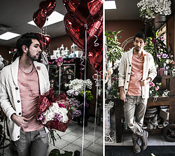 Bobby Raffin - Bluenotes Vday Graphic Tee, Bluenotes Cardigan, Patti's Flower Boutique Flowers - Flowers for Kendall Kay