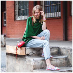 Ruth Pie - Weekday Shirt, Minkpink Jeans, Rebecca Minkoff Mini Mac - Green Summer Look