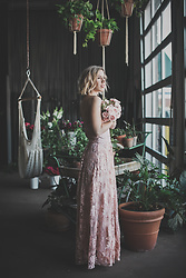 Julien Garman - Marchesa Notte Blush Lace Dress - Blush Lace Romance