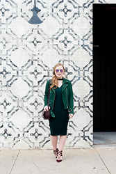Ashley Hutchinson - Veda Green Suede Moto Jacket, Zara Green Sweater Dress, Aquazzura Lace Up Burgundy Pumps, Sole Society Burgundy Crossbody Saddle Bag, Victoria Beckham Mirrored Aviator Sunglasses - Green Suede Moto Jacket