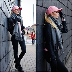 Madara L - Zaful Pink Faux Leather Hat, New Yorker Faux Leather Jacket, H&M Skinny Jeans - I've never been a hat person