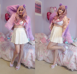 PastelKawaii Barbie - Aliexpress Lavender Faux Fur Coat, Hot Topic Pom Pom Purple Headband, Aliexpress Pale Pink Purple Wig, Ebay White Crop Top, Ebay White Pleated Shirt, Ebay Fuzzy Platforms - Kawaii Chanel Idol