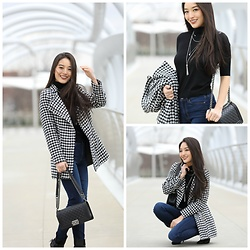 Kimberly Kong - Chicwish Houndstooth Coat, Chanel Boy Bag, Aeropostale Skinny Jeans - Fighting the Cold in Houndstooth