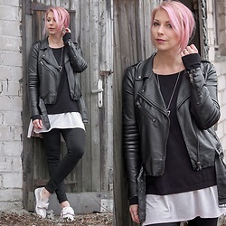 Lavie Deboite - H&M Leatherjacket, New Yorker Sweater, Only Skinnyjeans, Bullboxer Slipper - Black and Pink