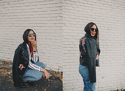 Nydia Enid - Zara Leather Jacket With Floral Patches, Pacsun Mom Jeans, Forever 21 Stripped Shirt - Floral Patches