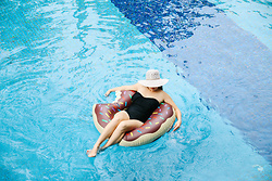 Brianna Degaston - Target Black One Piece, White Floppy Hat, Lazada Donut Pool Floatie - Too Cool For Pool