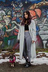Maria P - Topshop Mint Duster Coat, Topshop Black Choker Top, Topshop Grey High Waisted Skinny Jeans, Topshop Patent Leather Ankle Boots - Minty fresh