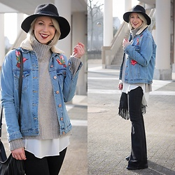 Lavie Deboite - Bershka Denimjacket, Zara Flared Pants, H&M Turtleneck Sweater, Stylebreaker Hat, Pimkie Bag - Denim with patches
